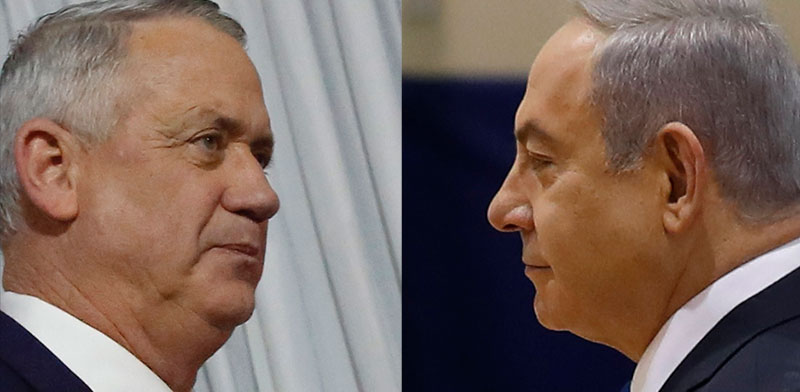 בנימין נתניהו ובני גנץ / צילום: Ariel Schalit, Associated Press