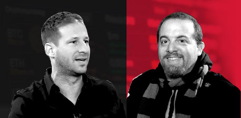 """אלי בז'רנו (מימין) מ-Bit2C וארז פישלר, לשעבר מנכ""""ל ריץ' אנד רויאל / צילומים: שלומי יוסף, צילום מסך יוטיוב"""