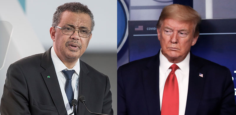 "דונלד טראמפ, נשיא ארה""ב, וטדרוס אדהנום גברייזוס, יו""ר ארגון הבריאות העולמי / צילום: Associated Press"