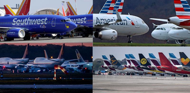 מאות אלפי מטוסים ברחבי העולם, מושבתים בשדות התעופה בצל הקורונה. ענף התעופה לא יחזור להיות מה שהכרנו / צילום: Associated Press