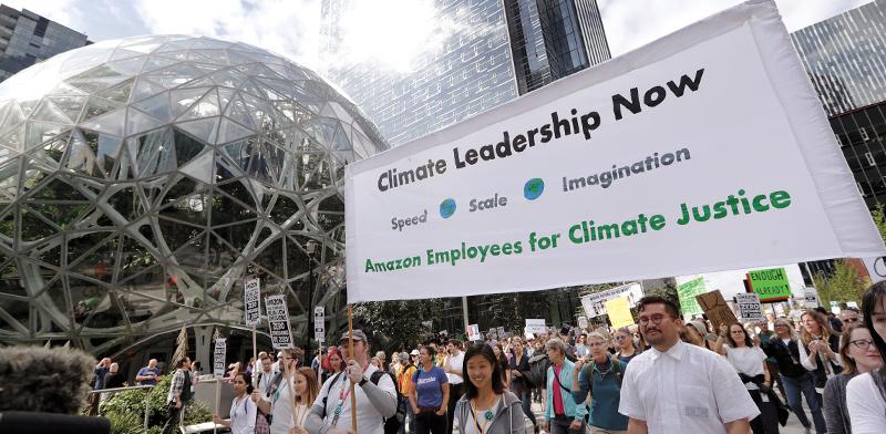 עובדי אמזון בהפגנה לקידום הטיפול במשבר האקלים  / צילום: Elaine Thompson, Associated Press