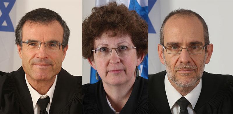 השופטים עודד שחם, רבקה פרידמן-פלדמן ומשה בר-עם / צילום: דוברות הרשות השופטת