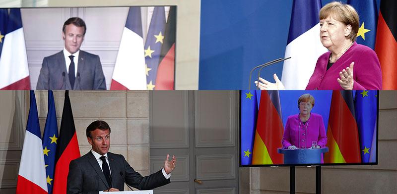 מימין: הקאנצלרית אנגלה מרקל בברלין והנשיא עמנואל מקרון בפריז. מסיבת עיתונאים בו זמנית / צילום: Associated Press