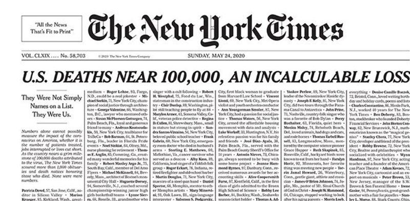 """שער ה""""ניו יורק טיימס"""" המוקדש לקורבנות הקורונה בארה""""ב / צילום: צילום מסך"""