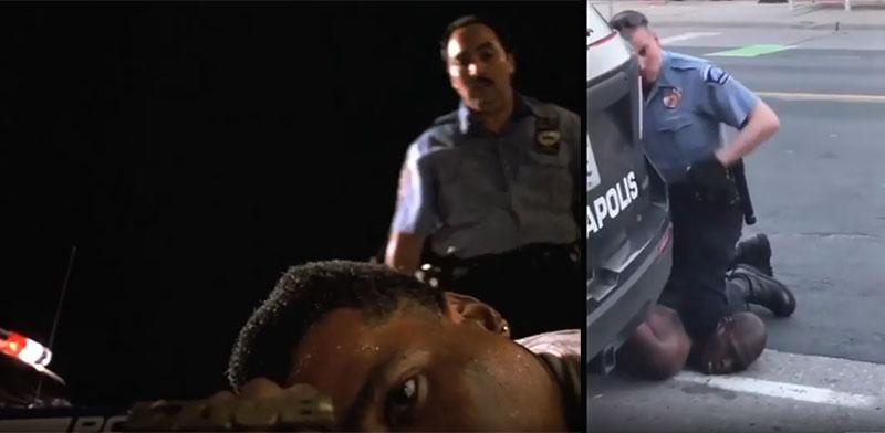 """מתוך תיעוד הרצח של פלויד ומתוך הסרט """"עשה את הדבר הנכון"""" בסרטון שספייק לי צייץ / צילום: צילום מסך"""