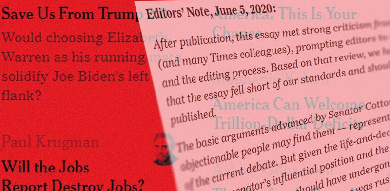 """הודעת המערכת של """"ניו יורק טיימס"""" בעקבות הדעה השנויה במחלוקת שגרמה להתפטרות העורך / עיצוב: טלי בוגדנובסקי , גלובס"""