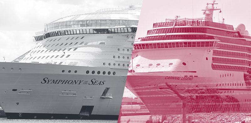 ספינות של רויאל קריביאן (משמאל) וקרניבל קרוז / צילום: Associated Press