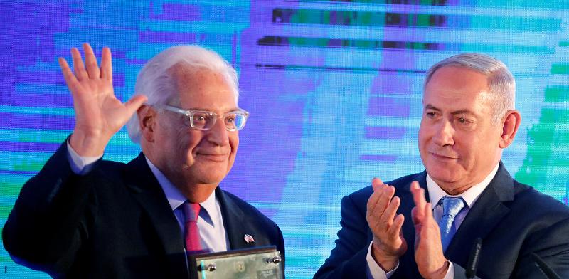 השגריר האמריקאי פרידמן וראש הממשלה נתניהו בטקס פתיחת השגרירות בירושלים / צילום: Amir Cohen, רויטרס