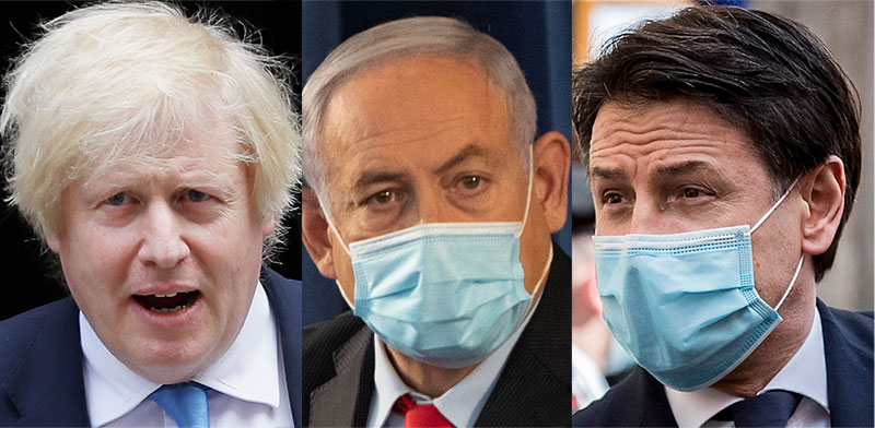 ג'וזפה קונטה, ראש ממשלת איטליה, בנימין נתניהו, ראש ממשלת ישראל, בוריס ג'ונסון, ראש ממשלת בריטניה / צילום: AP, RUITERS