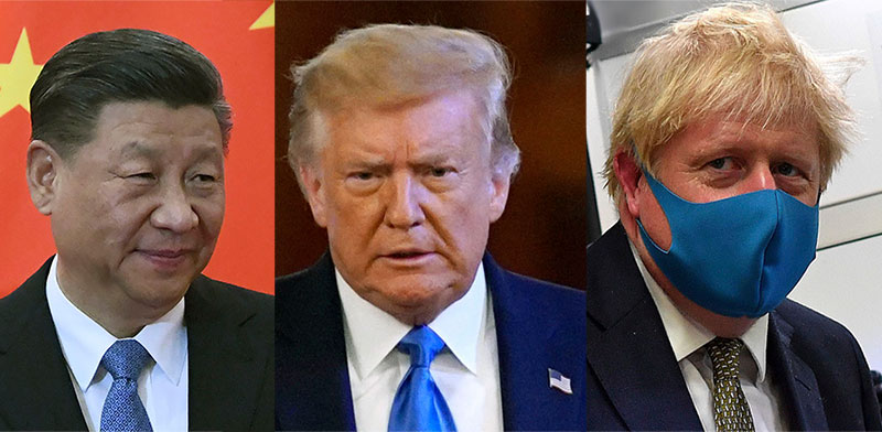 בוריס ג'ונסון, דונלד טראמפ, שי ג'ינפינג  / צילום: Associated Press