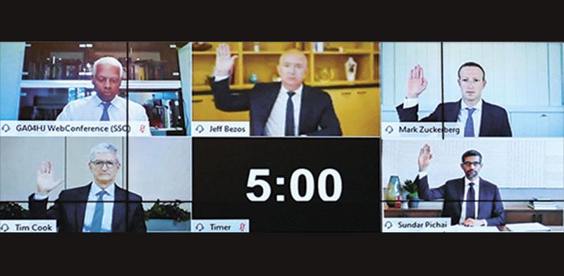 """משמאל לימין, עם כיוון השעון: חבר הוועדה האנק ג'ונסון וארבעת המנכ""""לים, ג'ף בזוס, מארק צוקרברג, סונדאר פיצ'אי וטים קוק. הדיון התנהל בחלקו מרחוק / צילום: רויטרס"""