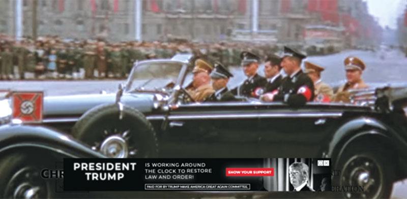 סרטון של המפלגה הנאצית בברלין ופופ אפ של קמפיין הבחירות של טראמפ / צילום: מתוך יוטיוב