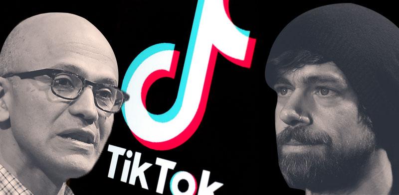 """ג'ק דורסי, מייסד טוויטר, וסאטיה נדאלה, מנכ""""ל מיקרוסופט בקרב על הטיקטוק / צילום: רויטרס"""