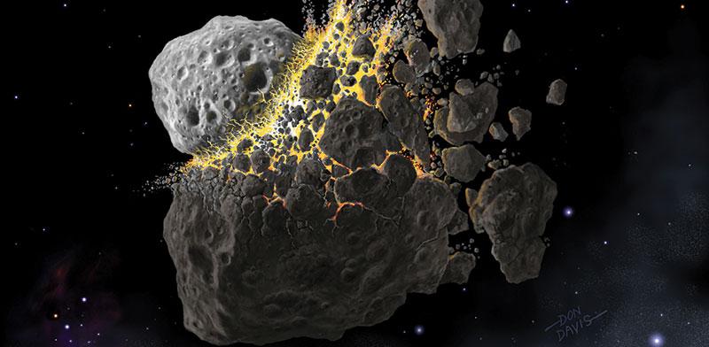 הדמיה של התנגשות אסטרואידים בחלל מלפני 466 מיליון שנה / צילום: רויטרס