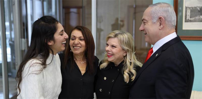 Naama Issachar with her mother Yaffa and Benjamin and Sara Netanyahu / Photo: Kobi Gidon, GPO