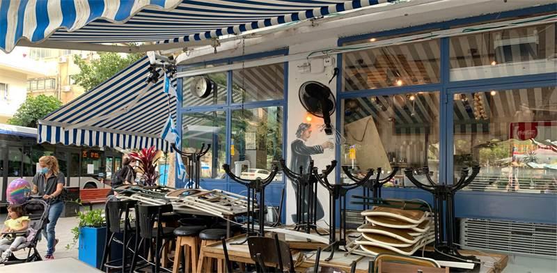 בית קפה סגור בתל אביב בצל הקורונה / צילום: שני מוזס, גלובס