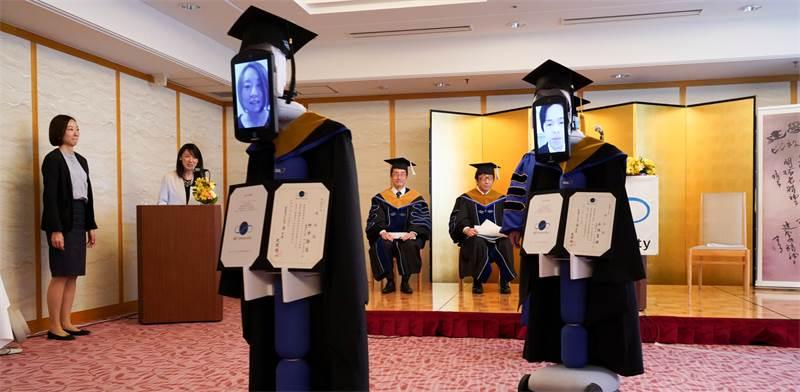 טקס הסיום באוניברסיטה היפנית בצל הקורונה / צילום: BBT UNIVERSITY, רויטרס