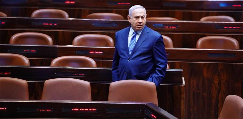 ראש הממשלה בנימין נתניהו במליאת הכנסת הריקה / צילום: דוברות הכנסת - עדינה ולמן