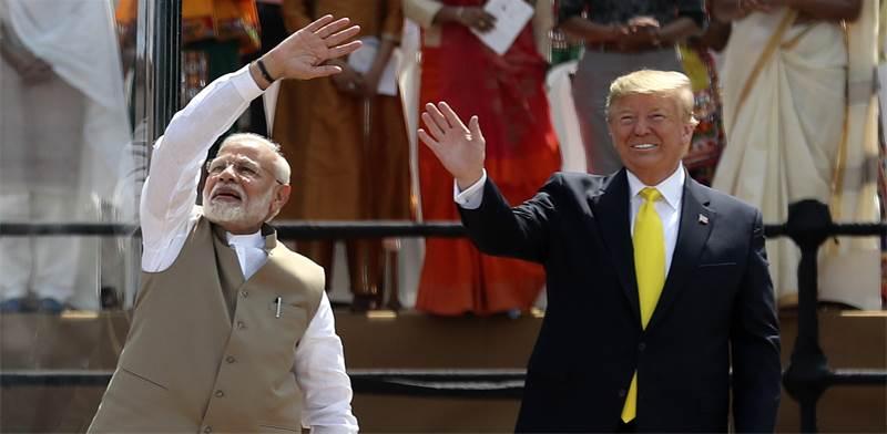 """נשיא ארה""""ב דונלד טראמפ וראש ממשלת הודו נרנדרה מודי / צילום: Aijaz Rahi, AP"""