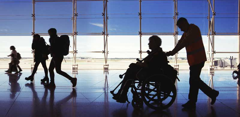 Disabled person at airport