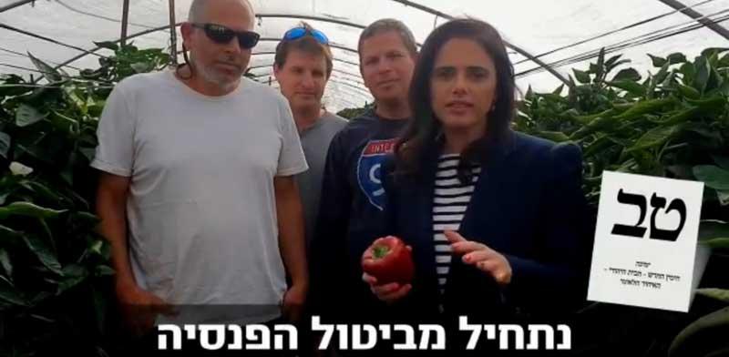 סרטון התעמולה של איילת שקד, שבו היא מציעה לפגוע בזכויותיהם של עובדים זרים / צילום: פייסבוק