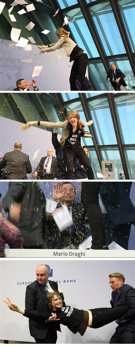 מפגינה ב ECB / צילום מסך